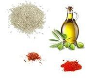 Epices, riz rond, huile d'olive