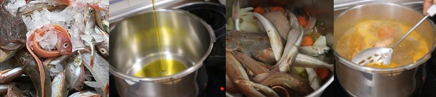 La préparation du bouillon de la paella marinière - PAELLAS DE JOSE