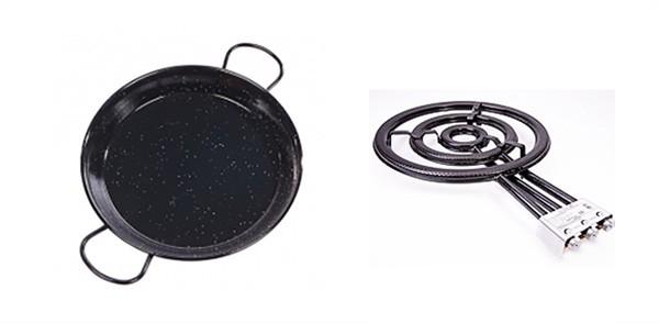Le plat à paella et le brûleur au gaz - Paellas de José