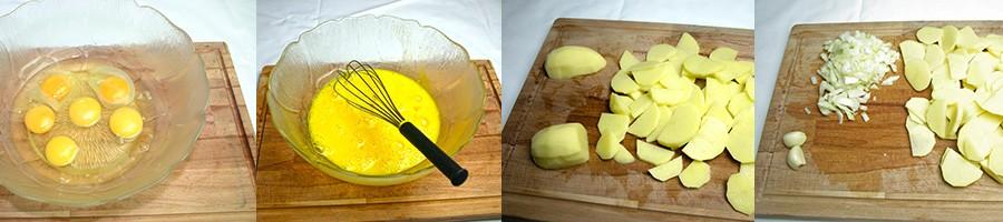 La préparation des ingrédients de la tortilla espagnole