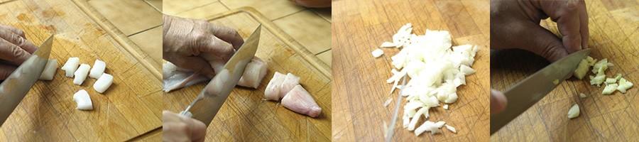 Préparation des ingrédients de la paella marinière - PAELLAS DE JOSE