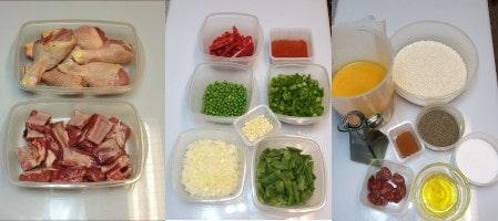 Les ingrédients d'une paella aux 2 viandes