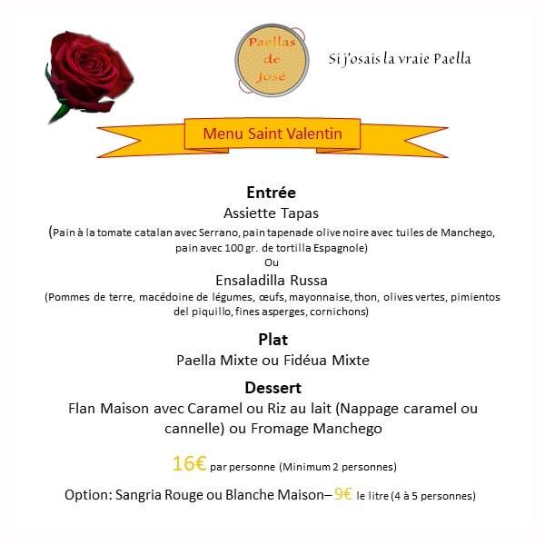 Menu Saint Valentin 2021 à Montauban et 82